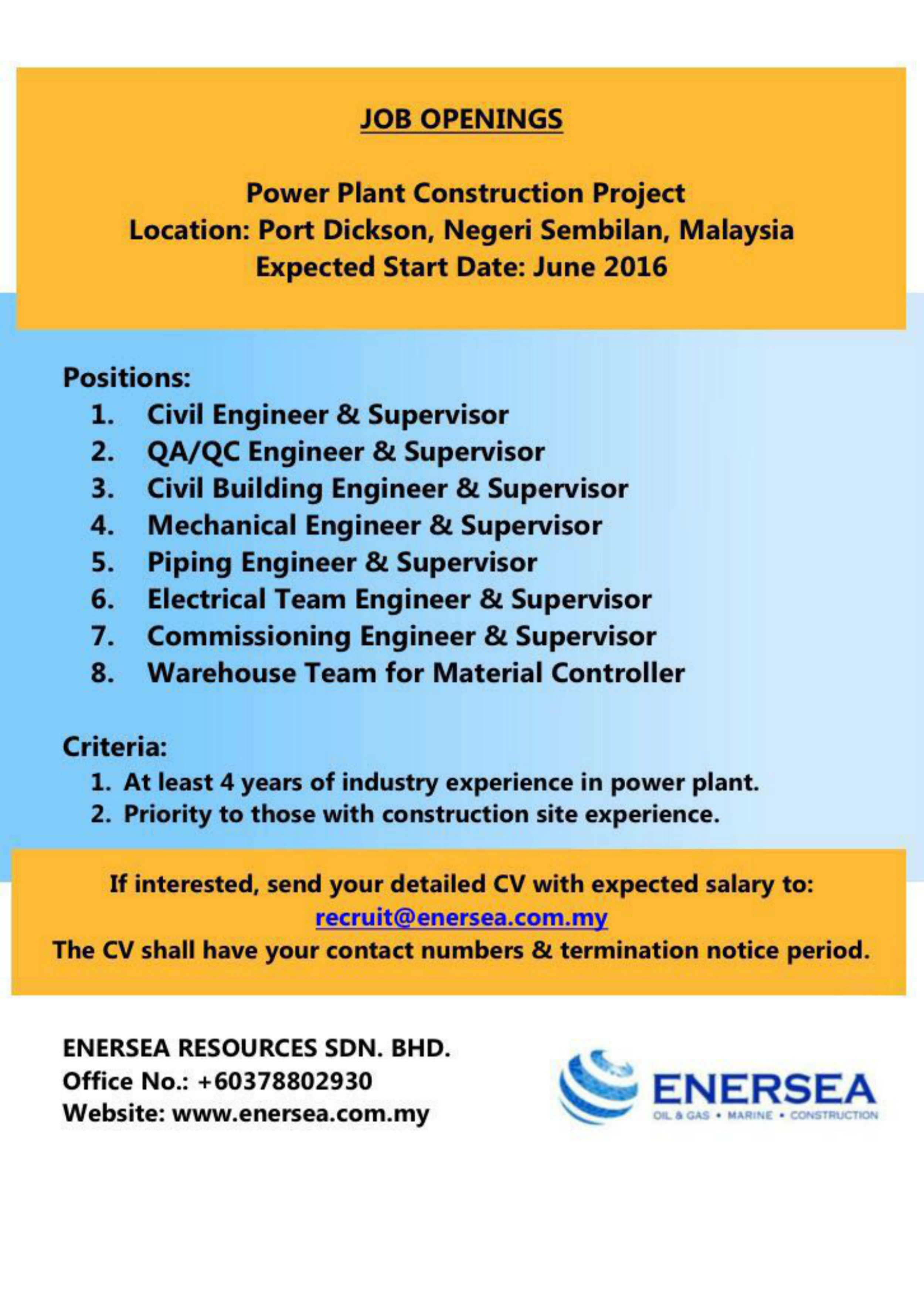 Career – Enersea Resources